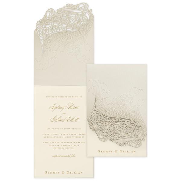 Affair of the Heart in Ecru Wedding Invitation