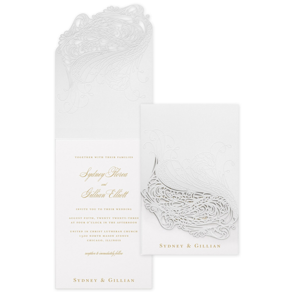 Affair of the Heart in White Wedding Invitation