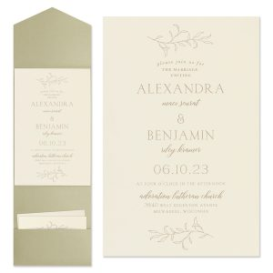 Banded Foliar in Ecru Wedding Invitation