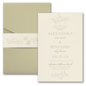 Banded Foliar in Ecru Wedding Invitation Icon