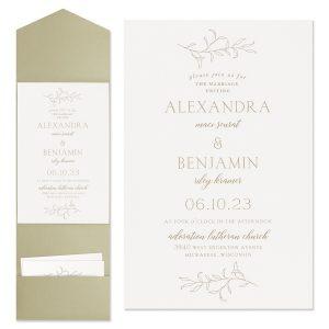 Banded Foliar in White Wedding Invitation