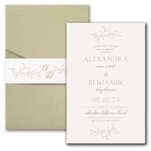 Banded Foliar in White Wedding Invitation Icon