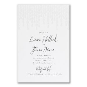 Beaded Beauty in White Wedding Invitation Icon