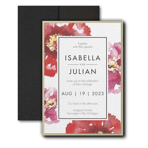 Bloom Bright Layered Pocket Wedding Invitation Icon