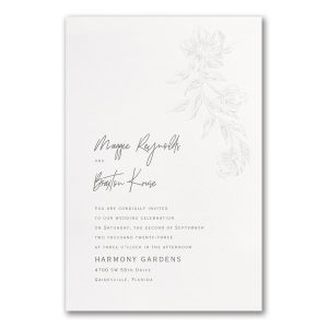 Cascading Flowers in White Wedding Invitation Icon