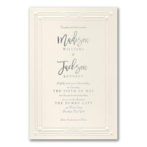 Chic Border in Ecru Wedding Invitation Icon