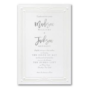 Chic Border in White Wedding Invitation Icon