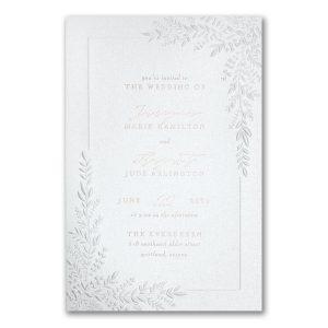Corner Leafery in White Wedding Invitation Icon