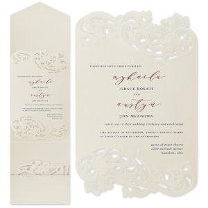 Courtly Flourish in Ecru Wedding Invitation
