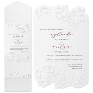 Courtly Flourish in White Wedding Invitation