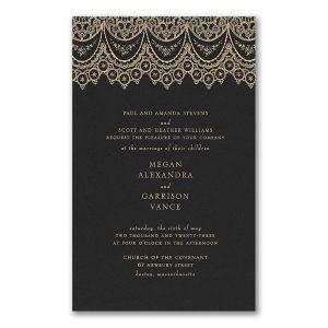 Draped in Lace in Black Wedding Invitation Icon