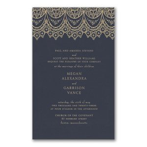 Draped in Lace in Navy Wedding Invitation Icon