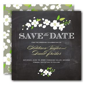 Enchanted Square Chalkboard Save the Date Card Icon