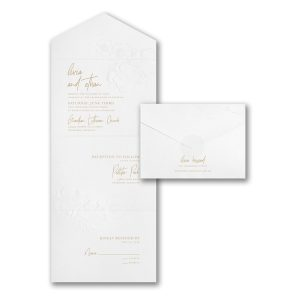 Lovely Floral in White Seal 'n Send Wedding Invitation Sample