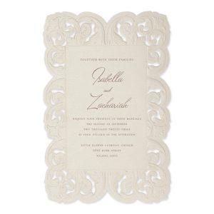 Ornate Flourish in Ecru Wedding Invitation Icon