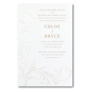 Wispy Flourishes in White Sep 'n Send Wedding Invitation Icon