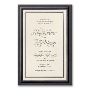 Black Bordered Elegance in Ecru Wedding Invitation Icon