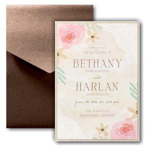 Budding Watercolor Layered Pocket Wedding Invitation Icon