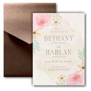 Budding Watercolor Pocket Wedding Invitation Icon