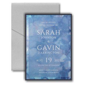 Dyed Ice in Periwinkle Layered Pocket Wedding Invitation Icon
