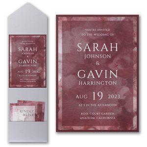 Dyed Ice in Wine Layered Pocket Wedding Invitation