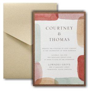 Earthy Shapes Layered Pocket Wedding Invitation Icon