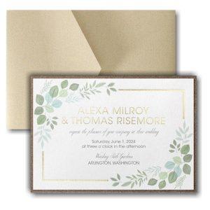 Edged Leaves Layered Pocket Wedding Invitation Icon