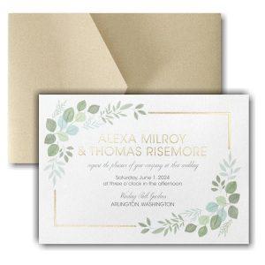 Edged Leaves Pocket Wedding Invitation Icon