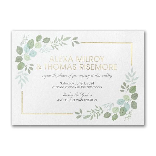 Edged Leaves Wedding Invitation