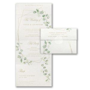 Geo Lined Greenery Seal 'n Send Wedding Invitation Icon