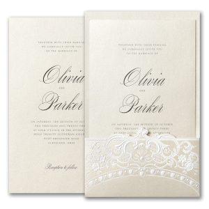 Alluring Details in Ecru Wedding Invitation