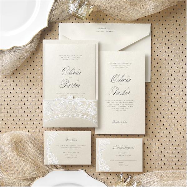 Alluring Details in Ecru Wedding Invitation alt