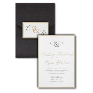 Ampersand Hearts Layered Pocket Wedding Invitation Icon