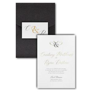 Ampersand Hearts Pocket Wedding Invitation Icon