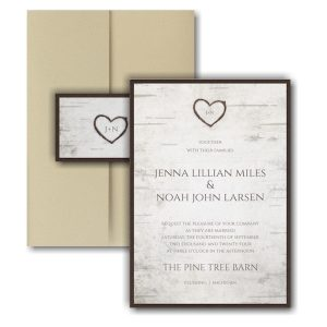 Birch Bark Charm Layered Pocket Wedding Invitation Icon