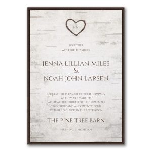 Birch Bark Charm Layered Wedding Invitation Icon