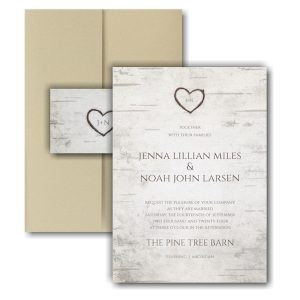 Birch Bark Charm Pocket Wedding Invitation Icon