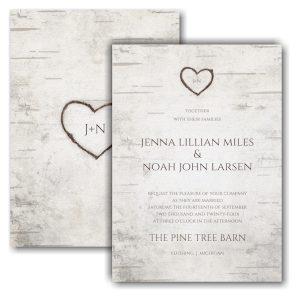 Birch Bark Charm Wedding Invitation Icon