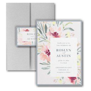 Bright Floral Border Layered Pocket Wedding Invitation Icon