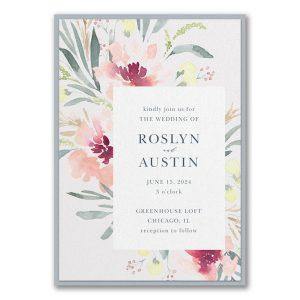 Bright Floral Border Layered Wedding Invitation Icon