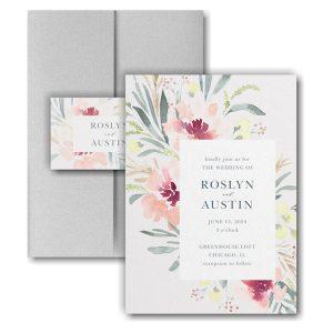 Bright Floral Border Pocket Wedding Invitation Icon