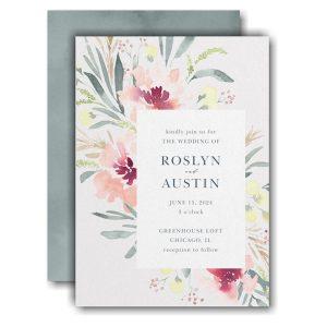Bright Floral Border Wedding Invitation Icon