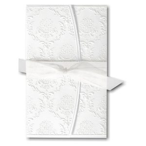 Cherished Love in White with White Wrap Wedding Invitation Icon