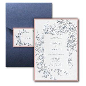 Decorative Floral Frame Layered Pocket Wedding Invitation Icon