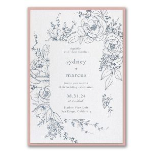 Decorative Floral Frame Layered Wedding Invitation Icon
