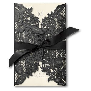 Enclosed in Lace in Ecru Wedding Invitation Icon