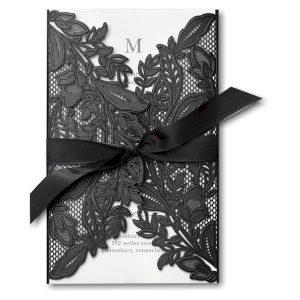 Enclosed in Lace in White Wedding Invitation Icon