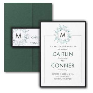 Greenery Initial Layered Pocket Wedding Invitation Icon