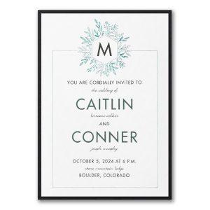 Greenery Initial Layered Wedding Invitation Icon