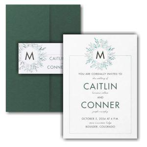 Greenery Initial Pocket Wedding Invitation Icon